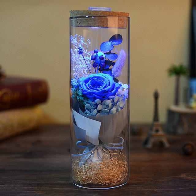 Glowing Preserved Rose Glass with Remote Control Urban Pronto Blue