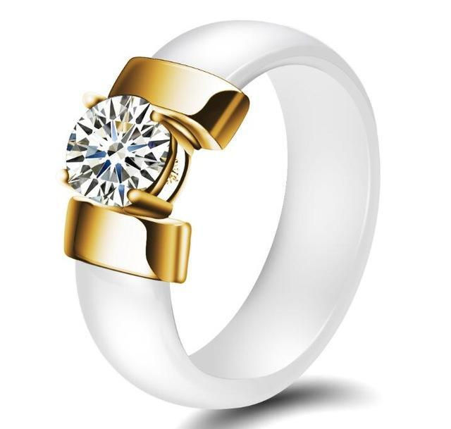 Cubic Zirconia Ring Fashion Accessories Urban Pronto 6 White & Gold