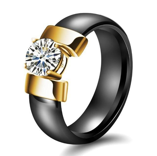 Cubic Zirconia Ring Fashion Accessories Urban Pronto 6 Black & Gold