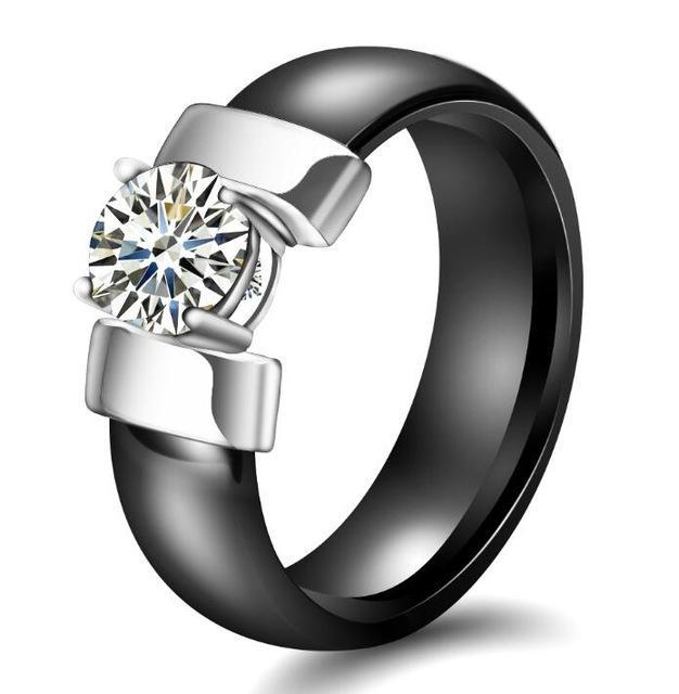 Cubic Zirconia Ring Fashion Accessories Urban Pronto 6 Black & Silver