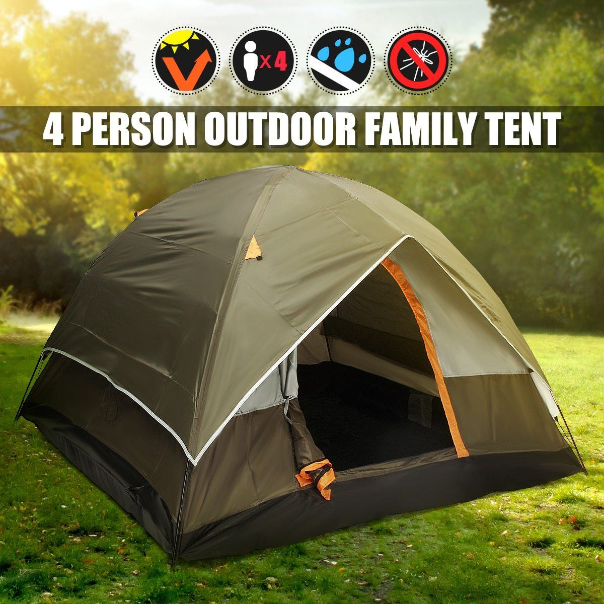4 Person Double layer Waterproof Weather Resistant Tent Urban Pronto United States