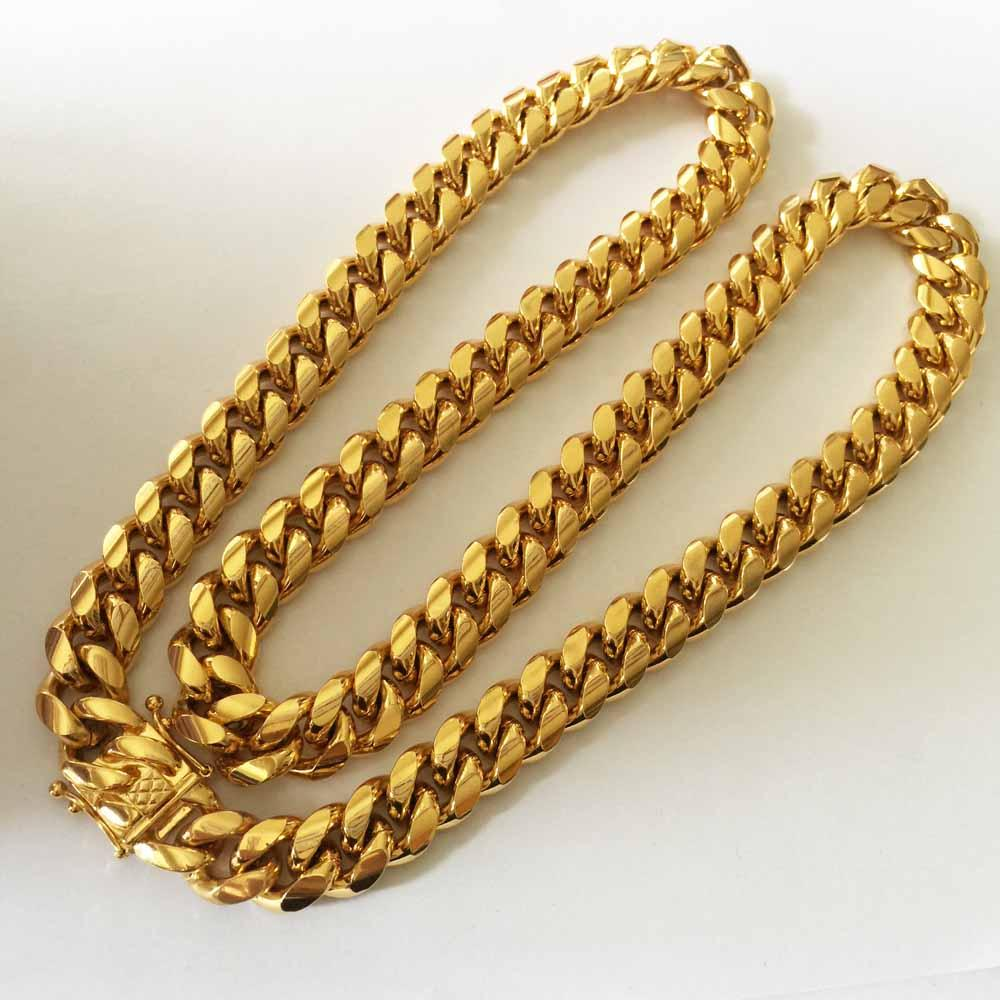 Stainless Steel Curb Chain Necklace- plated gold