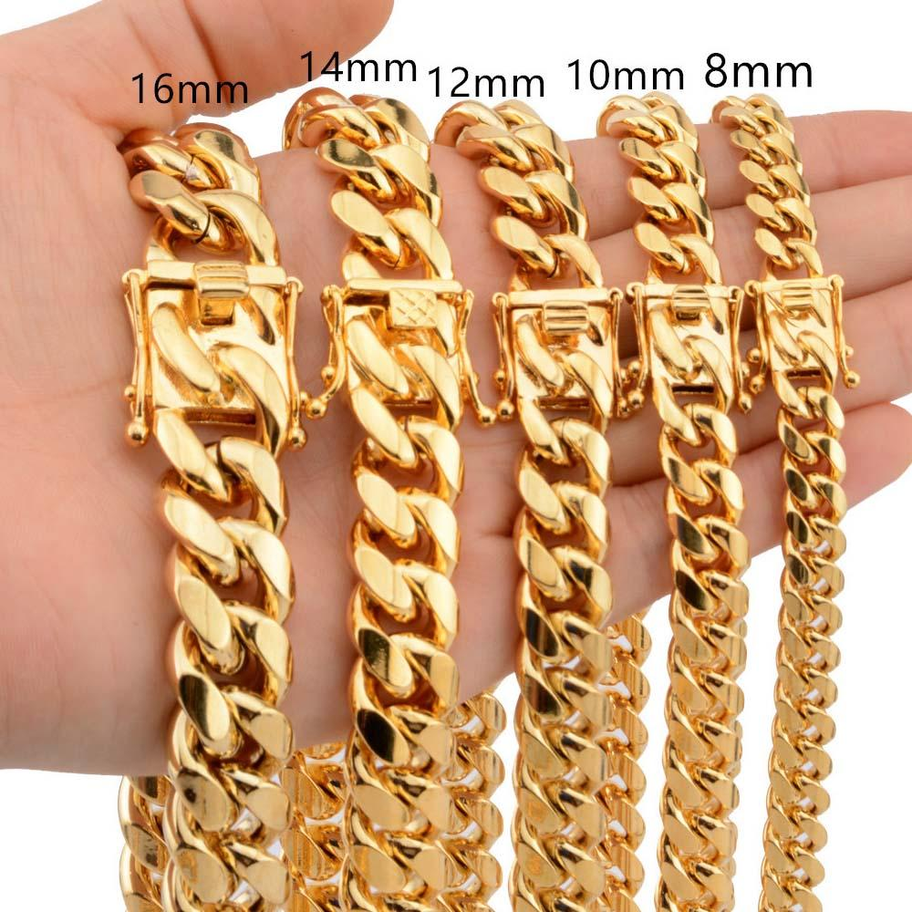 Stainless Steel Curb Chain Necklace- plated gold Urban Pronto Width 8mm 18 inch (46cm)