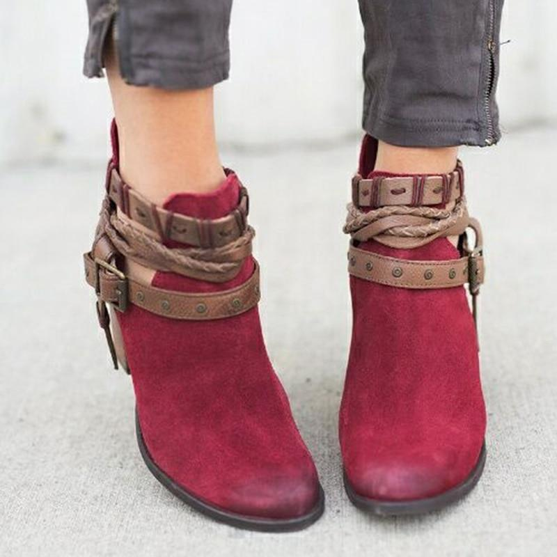 Buckle Strap Heels Ankle Boots Urban Pronto