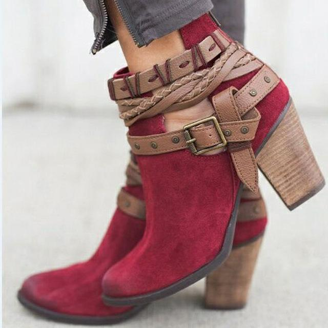 Buckle Strap Heels Ankle Boots Urban Pronto Red 34