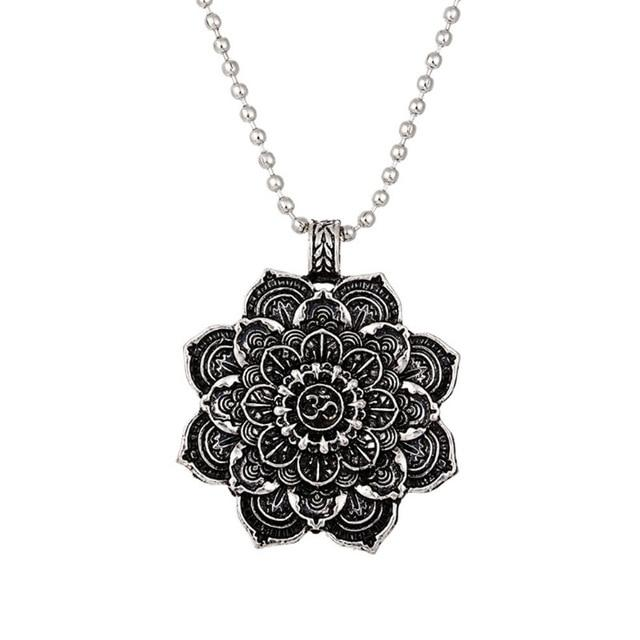 Mandala Lotus Flower Pendant Necklaces Urban Pronto alloy chain