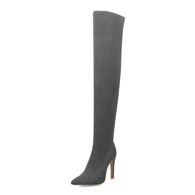 Sexy Thigh High Over the Knees Thin High Heels Urban Pronto Gray 3