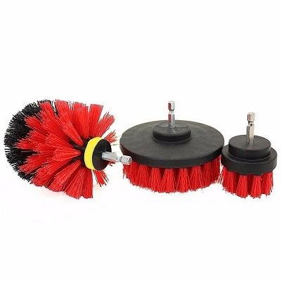 Power Scrubber Drill Brush Kit Urban Pronto Red 3pcs