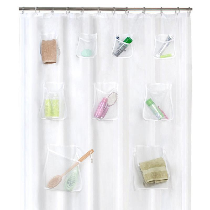 Water-Repellent and Mildew-Proof Mesh Pockets Storage Shower Curtain