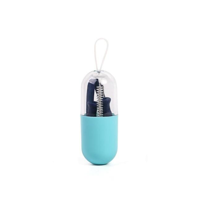 Reusable Silicone Collapsible Straws-with carry case and brush Urban Pronto Blue with case