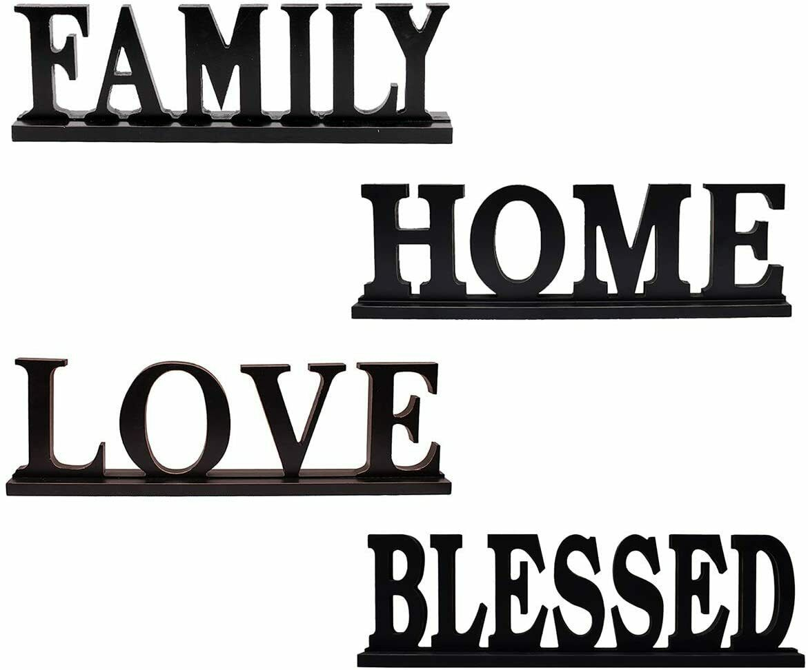 Rustic Wood Sign for Home Decor, Decorative Wooden Cutout Word Tabletop Decor