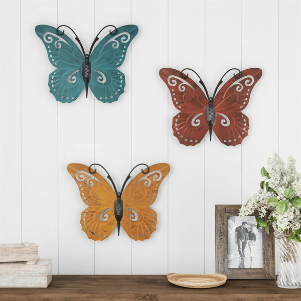 3 Piece Set Metal Butterfly Wall Decor Painted 11 x 14 Inch Indoor Outdoor www.5stardeal.com