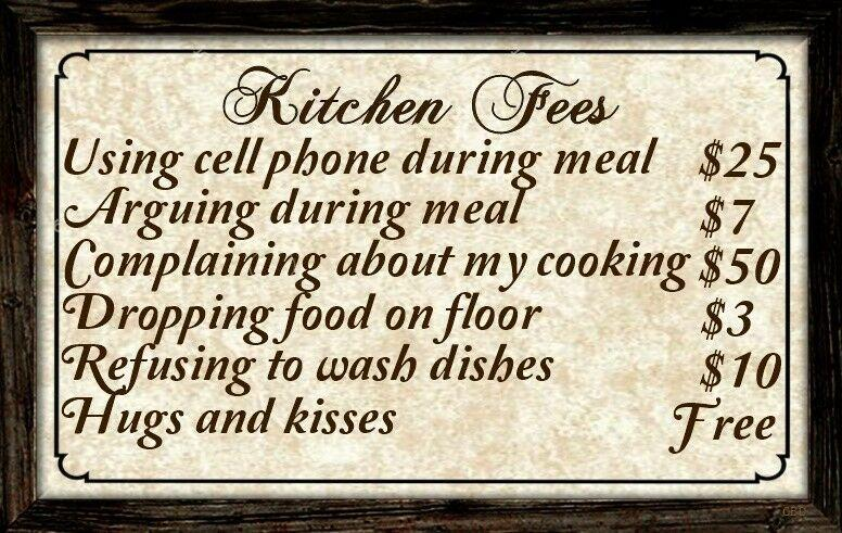 Kitchen Fees Sign