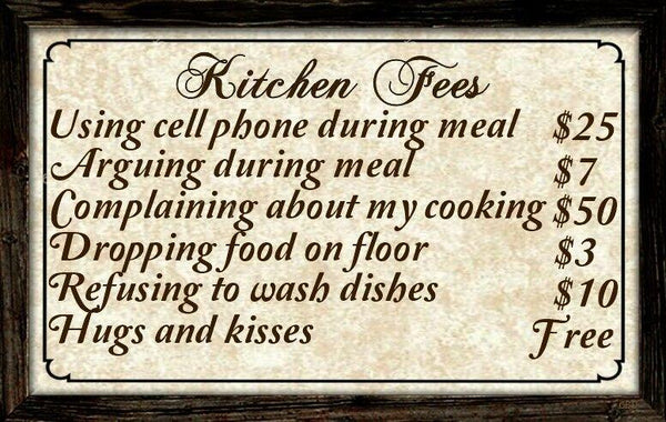 Kitchen Fees Sign craftsbydancraftsbydan