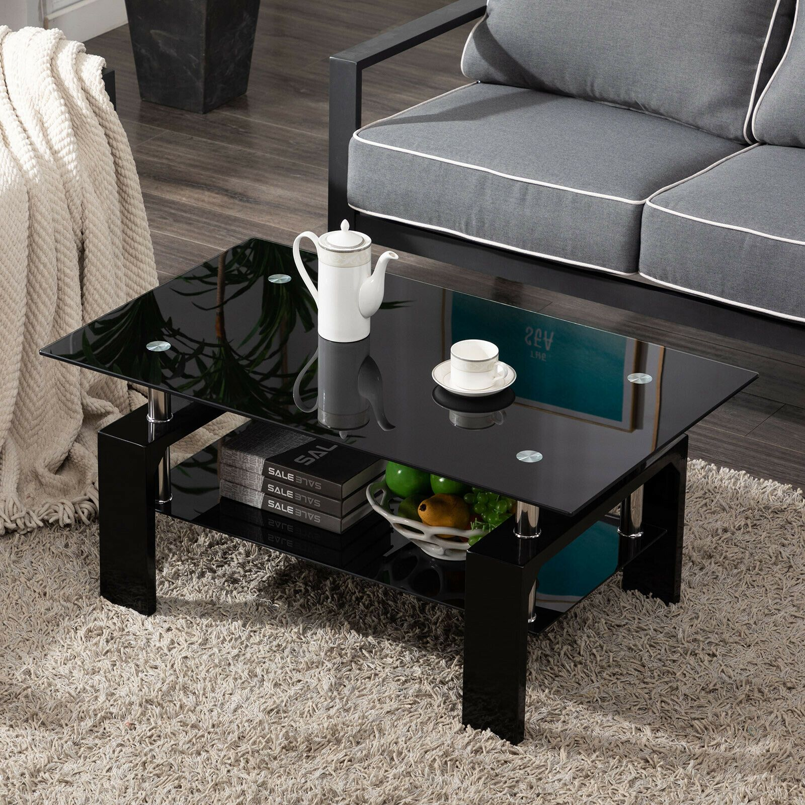 Modern Rectangle Cocktail Coffee Table Glass & Wood Living Room With Lower Shelf sale4better Advanced Black