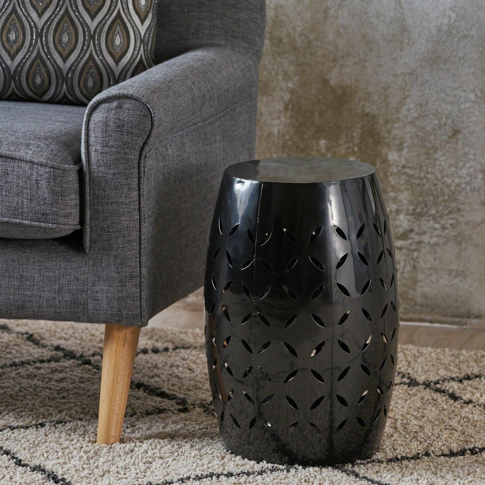 Indoor Lace Cut Iron Accent Table gdfstudio Black