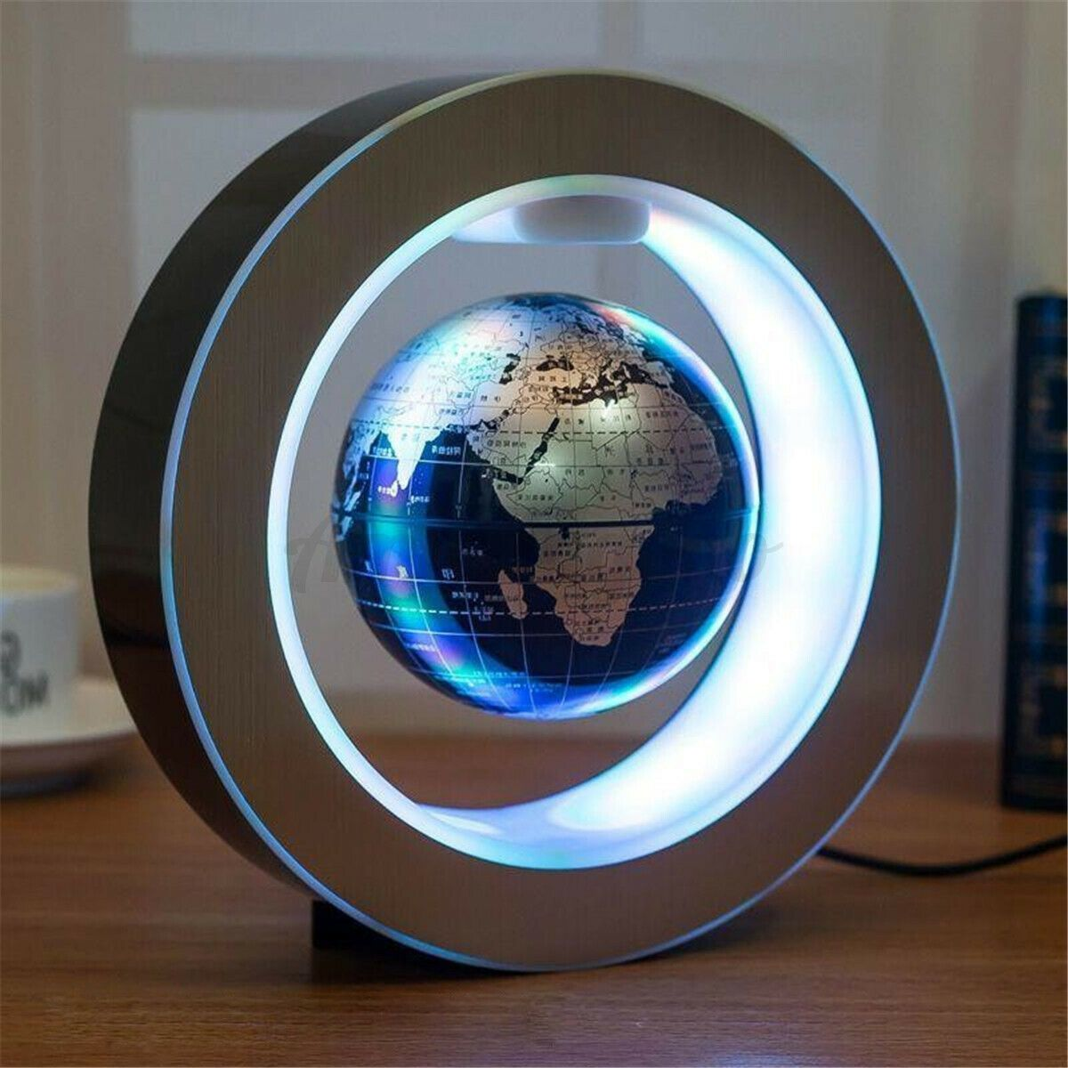 "4"" Magnetic Floating Globe Levitation O Shape LED World Map amazingogo Blue"