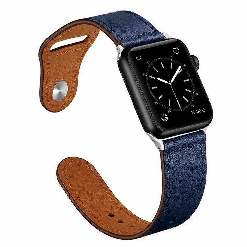 Genuine Leather Band Strap for Apple Watch Series 6 5 4 3 2 1 40/44/38/42mm jchou_fastjchou_fast For Apple Watch 38mm Dark blue