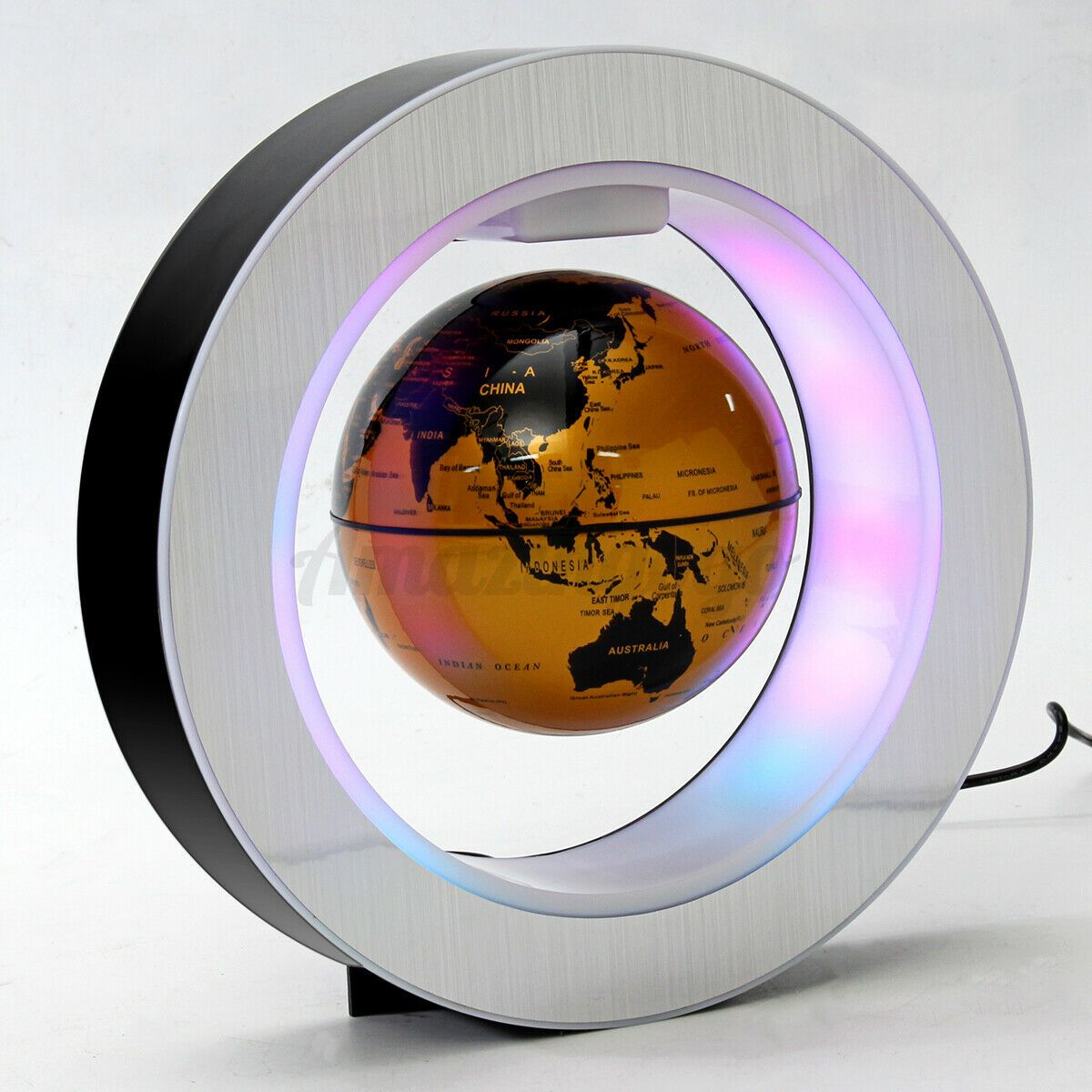 "4"" Magnetic Floating Globe Levitation O Shape LED World Map amazingogo Gold"