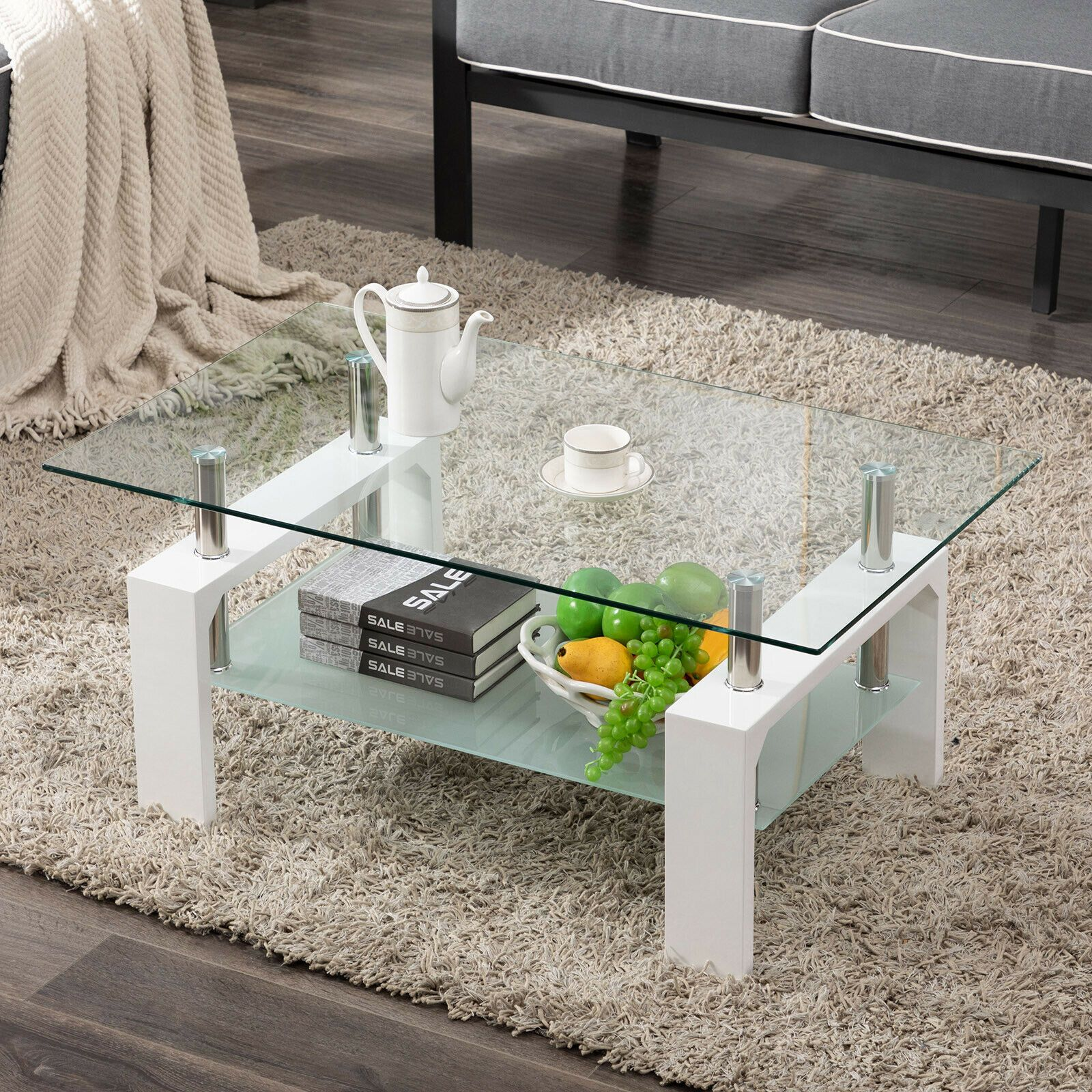 Modern Rectangle Cocktail Coffee Table Glass & Wood Living Room With Lower Shelf sale4better Modern White