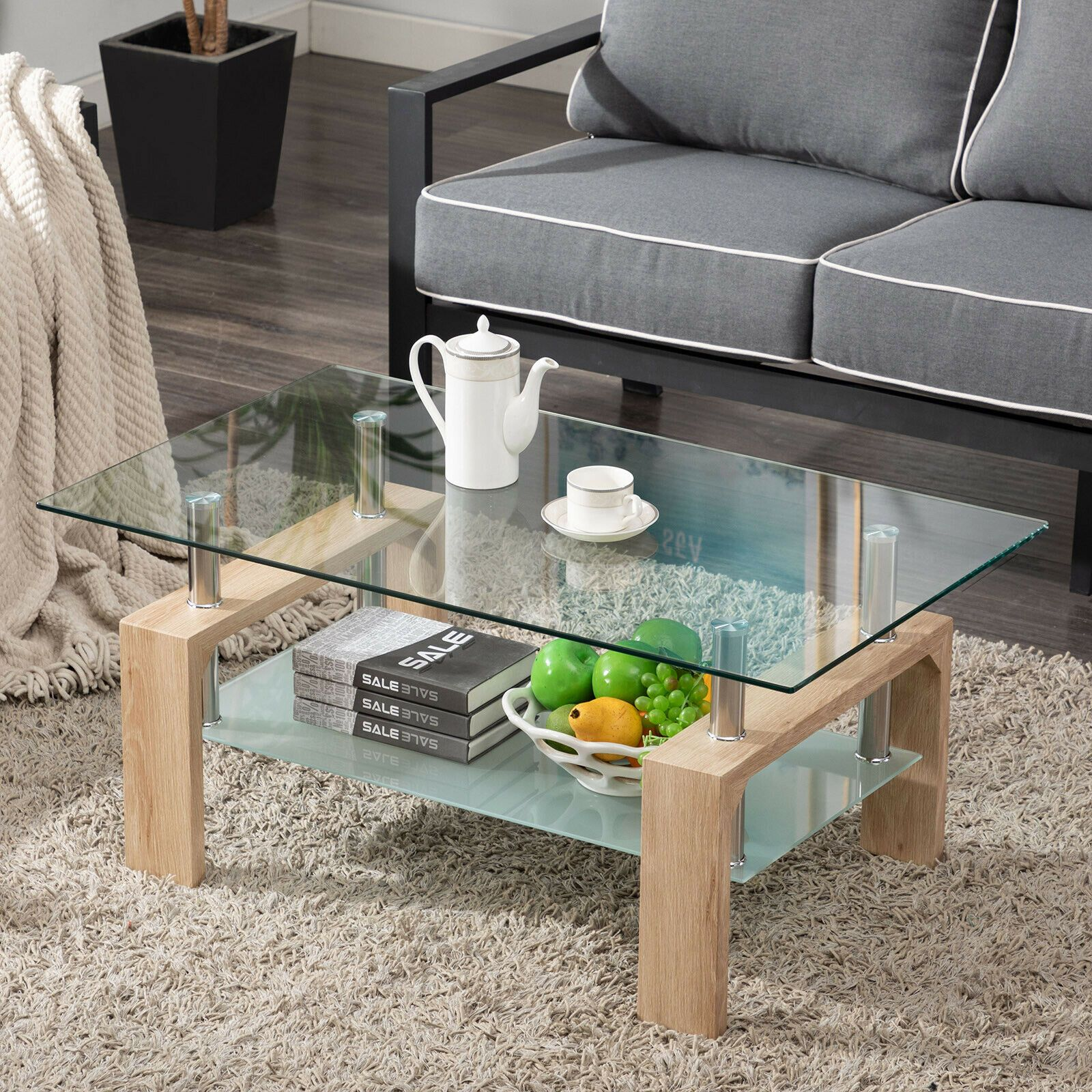 Modern Rectangle Cocktail Coffee Table Glass & Wood Living Room With Lower Shelf sale4better Vintage Wood
