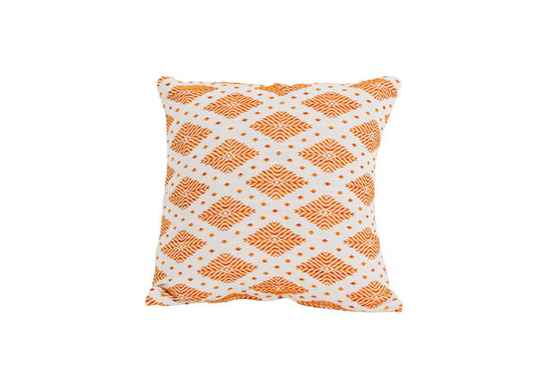 Orange & White Patterned Pillow
