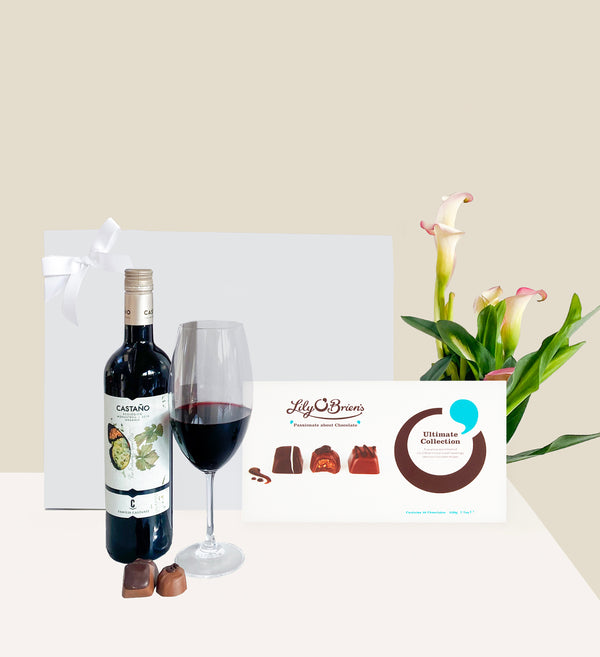 Organic Red Wine and Chocolates Gift Hamper