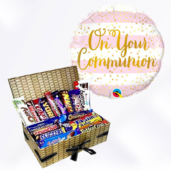 On Your Communion Pink Balloon & Chocolate Gift Set