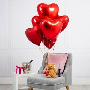 Half Dozen Red Hearts Balloon Bouquet, Chandler Bear & Prosecco