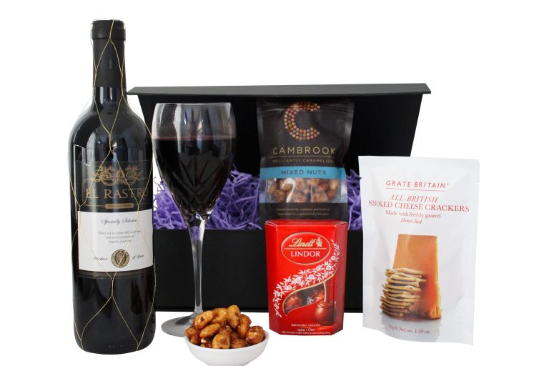 Organic Red Wine and Nibbles Gift Hamper