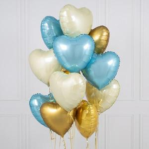 One Dozen Variety Hearts Foil Balloon Bouquet