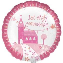 First Holy Communion Pink Balloon & Swizzels Gift Set
