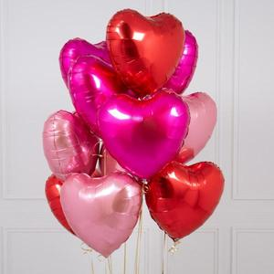 One Dozen Mixed Red Heart Foil Balloon Bouquet