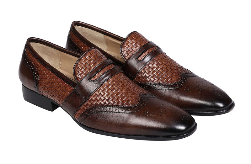 ECRU-BROWN WOVEN SADDLE LOAFER