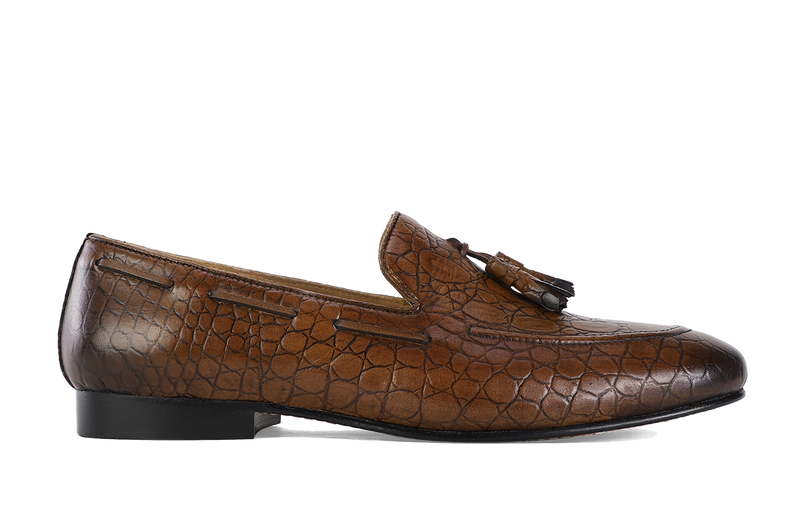 Tobacco Croco Galet Loafer