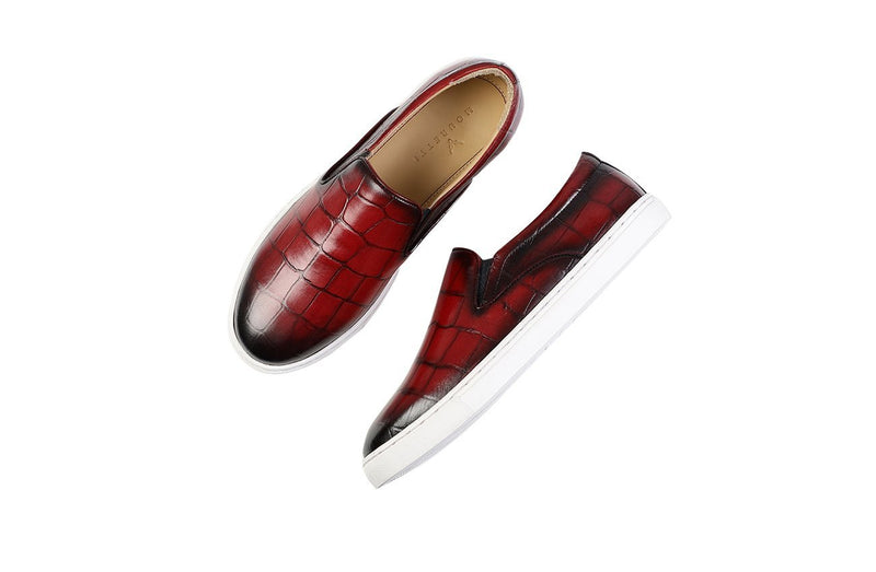 Mahagony Croco Slip On Skate