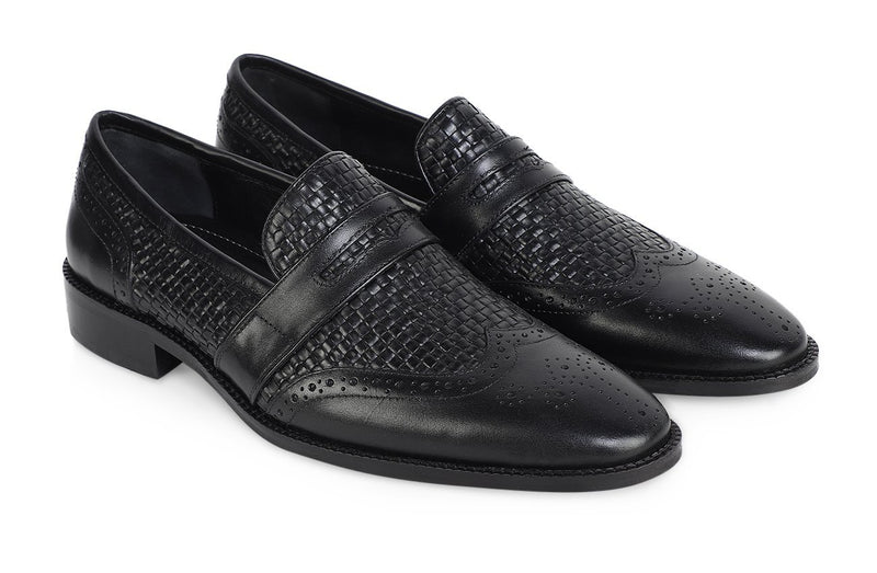 NOIR AGUDO WOVEN SADDLE LOAFER