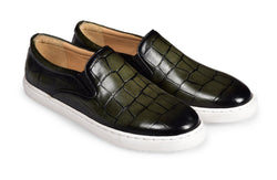OLIVE CROCO SLIP ON SKATE