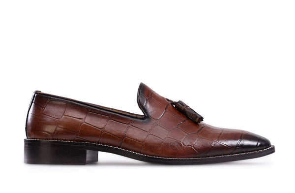 Tobacco Croco Fertel Tassel Loafer