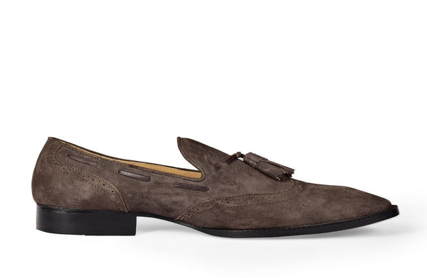TOBACCO SUEDE TASSEL LOAFER