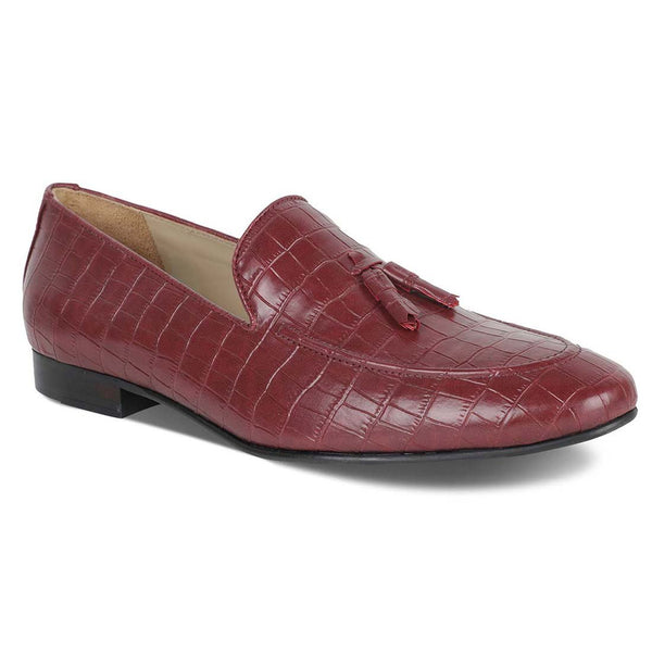 Burgundy Croco Nappa Loafers