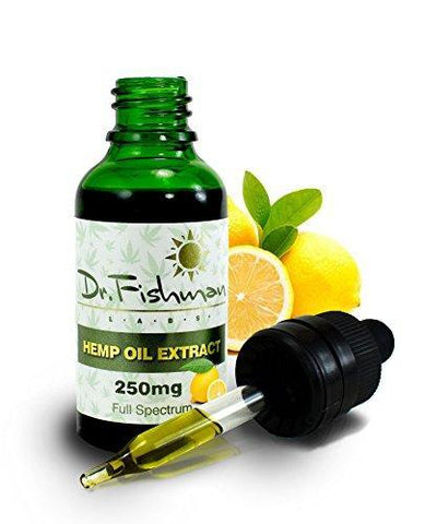 Full Spectrum Hemp Oil - Lemon Flavor - by Dr. Fishman Labs - 250mg 99.9% Pure Hemp Extract - Pain - Stress - Anxiety Relief 30ml -(1oz)