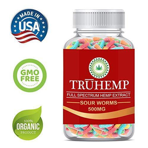 Premium Full Spectrum Hemp Extract Worms Gummy - Safe and Natural - Made in USA - 500MG Total, 14MG Each - Great for Skin, Relaxing, Pain, Stress & Anxiety Relief (Sour Worms)