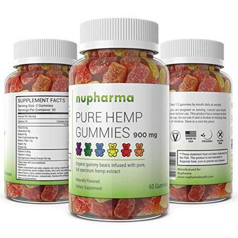 Pure Hemp Gummies - 15mg per Gummy - Organic Full Spectrum Hemp Extract- Hemp Oil Gummy Bears (60 Count)