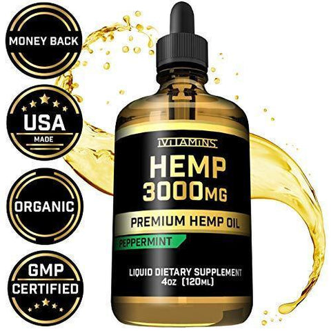 Hemp Oil for Pain Anxiety Relief :: 3,000mg :: Natural Full Spectrum Hemp Seed Extract :: May Help with Inflammation, Joints, Sleep, Mood + More :: Zero THC CBD Cannabidiol :: Rich in Omega 3,6,9