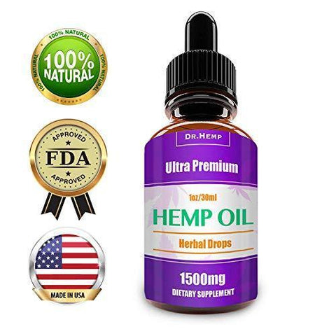 Hemp Oil Drops 1500mg, 100% Pure Natural Ingredients Full Spectrum Co2 Extracted, Anti-inflammatory, Help Reduce Stress, Anxiety and Pain, Vegan Vegetarian Friendly