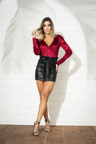 Falda Tipo Cuero R234 | Faux Feather Skirt R234