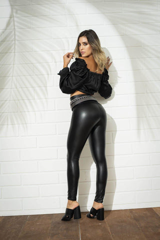 Pantalón Tipo Cuero R235  | Faux Leather Leggings R235
