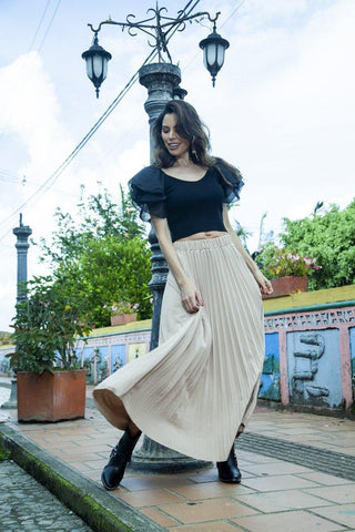 Falda Larga Plisada 3088 |   Long Pleated Skirt 3088