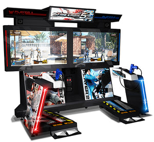 An image of the Time Crisis 5 arcade cabinet, featuring weapon stations for two-players and a new dual pedal system.